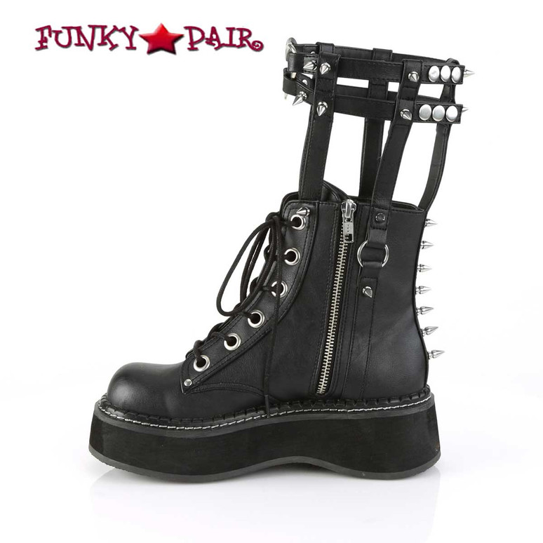 Emily-357, 2 Inch Ankle Boots with Cage Style Leg Brace zipper side view