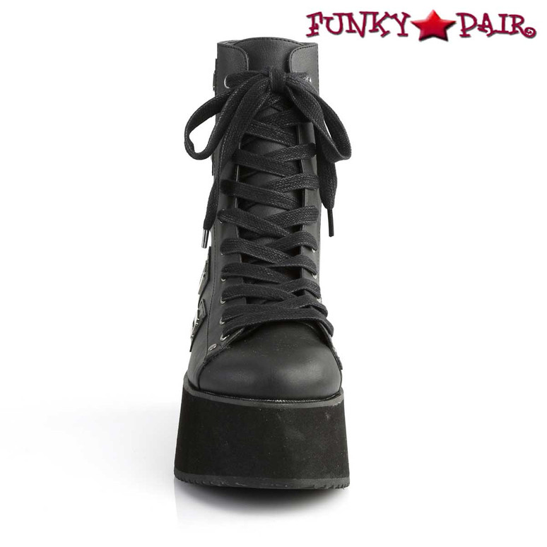 Grip-103, 2.75 Inch Platform Lace-up Ankle Boots Demonia Shoes front view