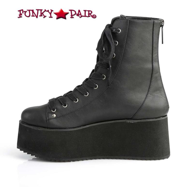 Grip-103, 2.75 Inch Platform Lace-up Ankle Boots Demonia Shoes inner side view