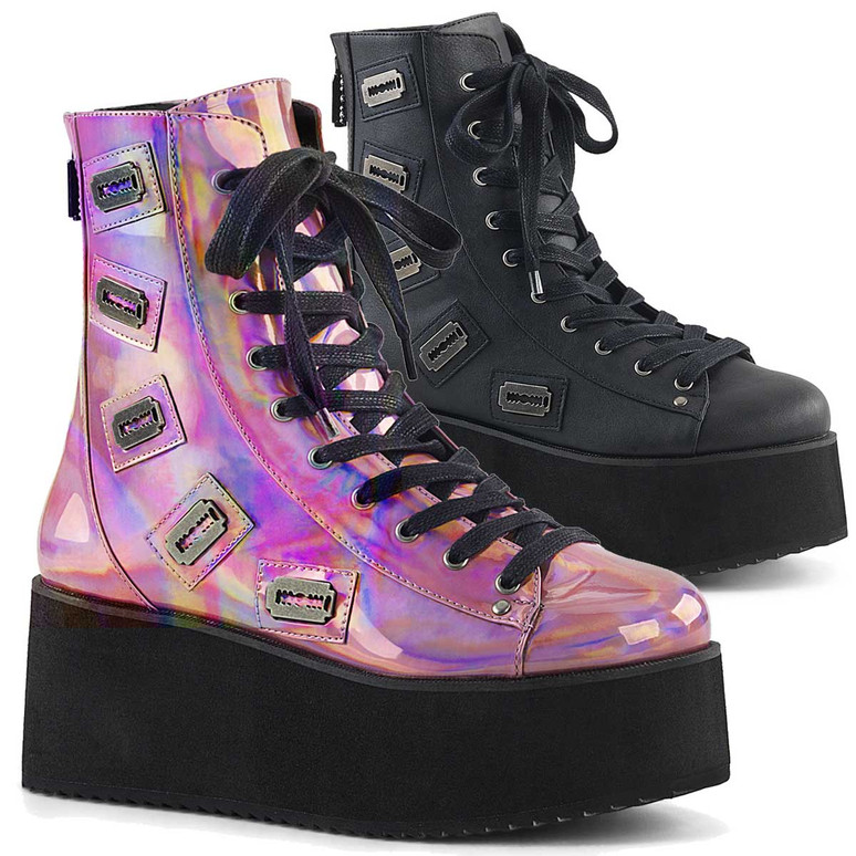 Grip-103, 2.75 Inch Platform Lace-up Ankle Boots Demonia Shoes