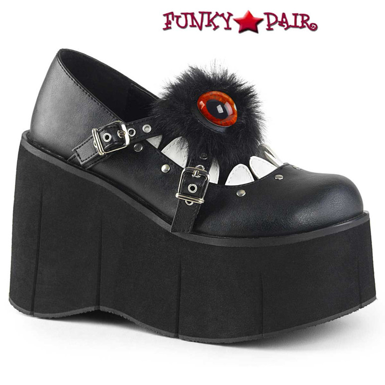 Demonia Shoes Kera-11, Furry Eyeball Maryjane Shoes