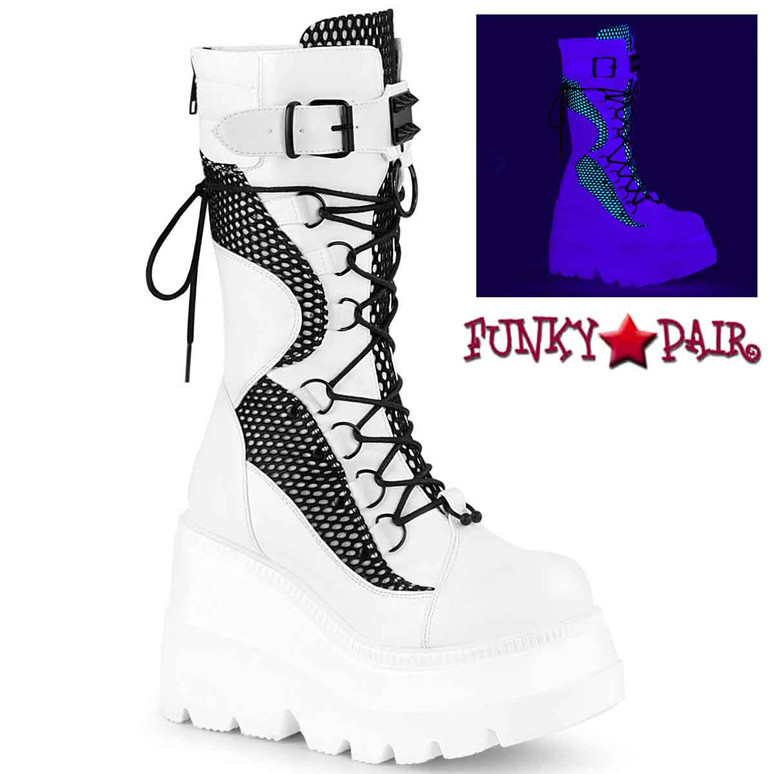 Shaker-70 White Vegan Leather Wedge Mid-Calf Boot by Demonia