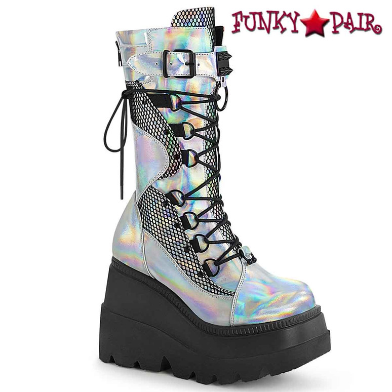 Shaker-70 Silver Wedge Mid-Calf Boot by Demonia