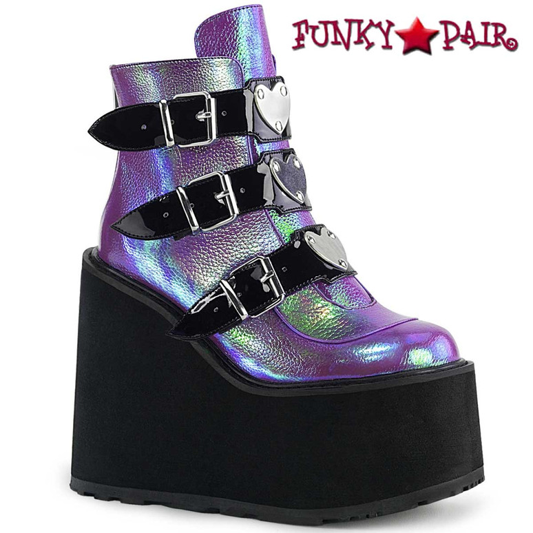 Swing-105, Purple RAVE Triple Buckle Wedge Platform Ankle Boots by Demonia