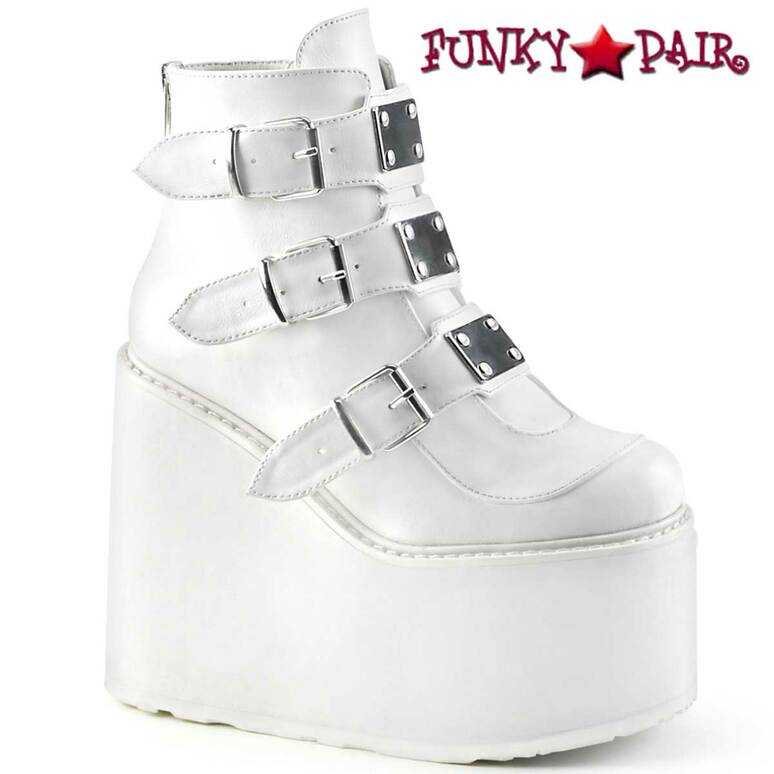Swing-105, White Triple Buckle Wedge Platform Ankle Boots by Demonia