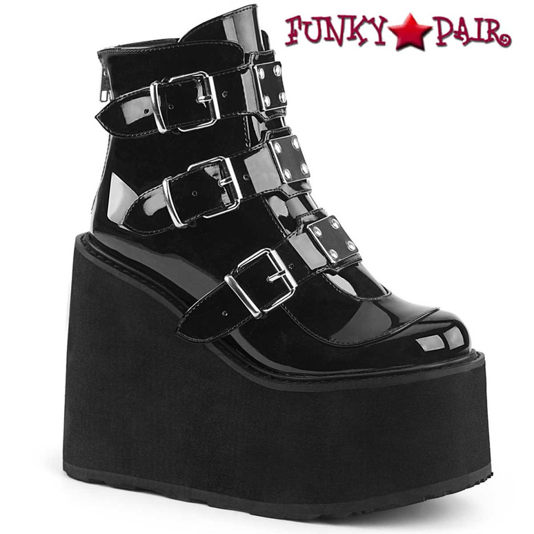 Swing-105, Black Gothic Triple Buckle Wedge Platform Ankle Boots by Demonia