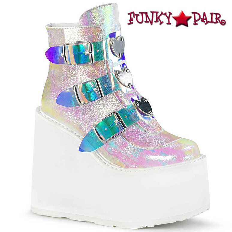 Swing-105, RAVER Platform Ankle Boots Triple Buckle Wedge by Demonia color Opal Pearl Iridescent Vegan Leather