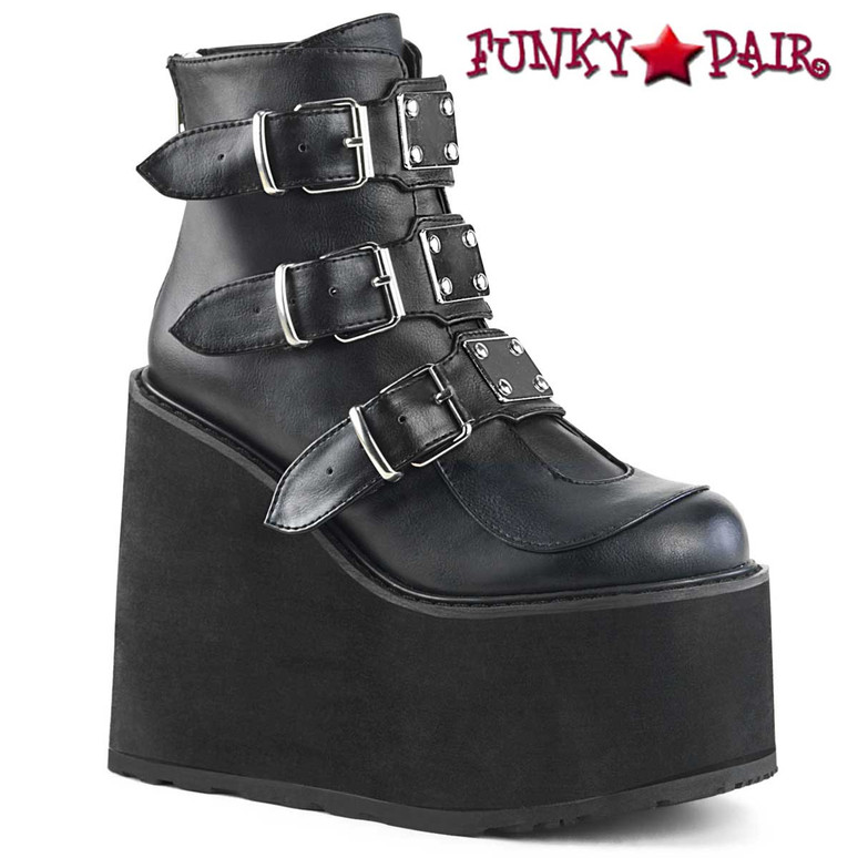 Swing-105 by Demonia Goth Black Vegan Leather Wedge Triple Buckle Ankle Boots