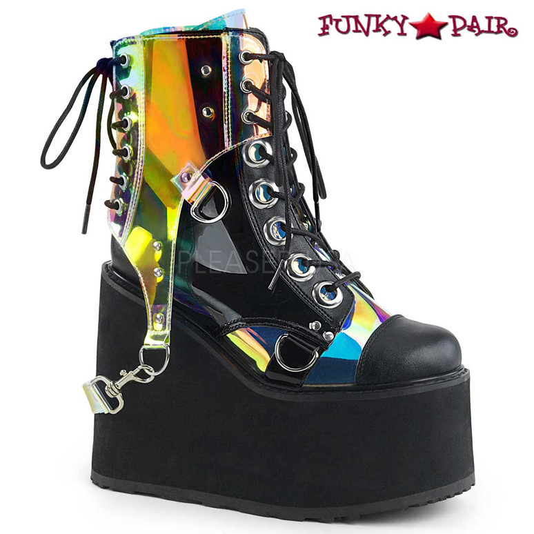 Rave Boots  Swing-115, Wedge Platform Ankle Boots Color Vegan Leather-Pat-Magic Mirror TPU