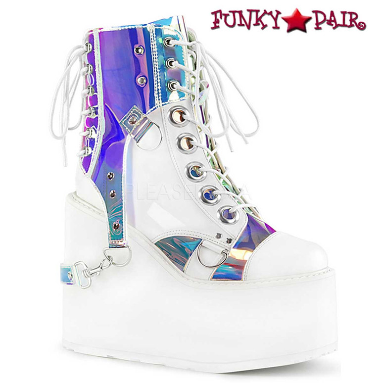 Rave Boots  Swing-115, Wedge Platform Ankle Boots color White Vegan Leather-Pat-Magic Mirror TPU