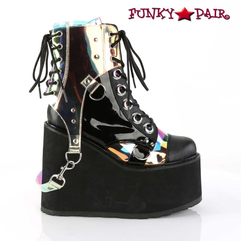 Rave Boots  Swing-115, Wedge Platform Ankle Boots Color Vegan Leather-Pat-Magic Mirror TPU side view