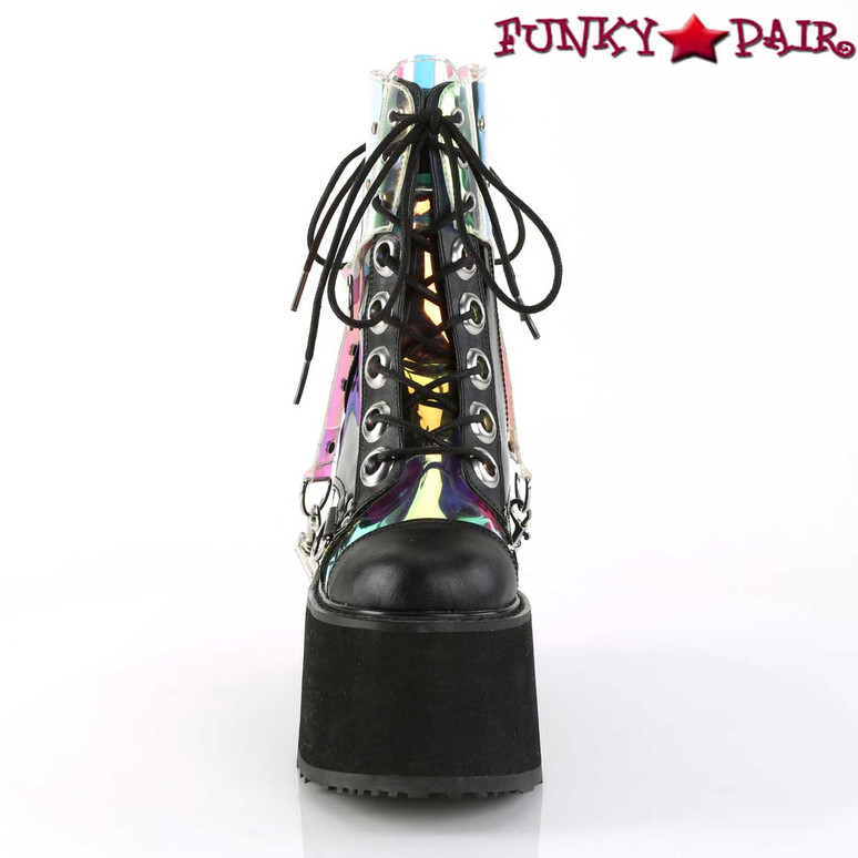 Rave Boots |Swing-115, Wedge Platform Ankle Boots Color Vegan Leather-Pat-Magic Mirror TPU front view