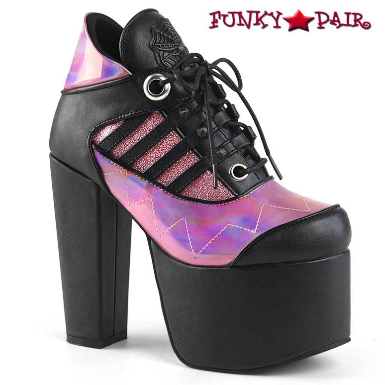 Women Demonia | Torment-216, Women's Ankle Boots  color Pink/Black