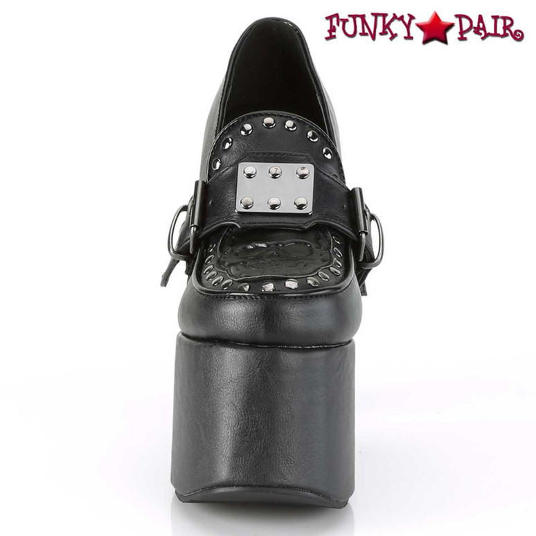 Torment-500 Front View Dual Buckle Strap w/ Spiked Metal Plate by Demonia