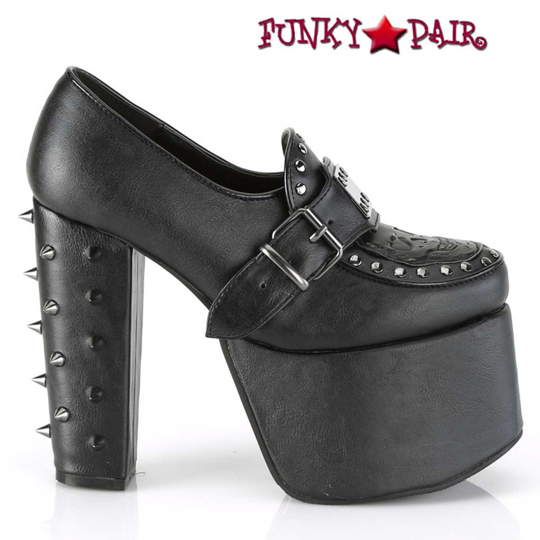 Demonia Torment-500, Goth Platform Loafer Buckles Strap and Spikes Heel