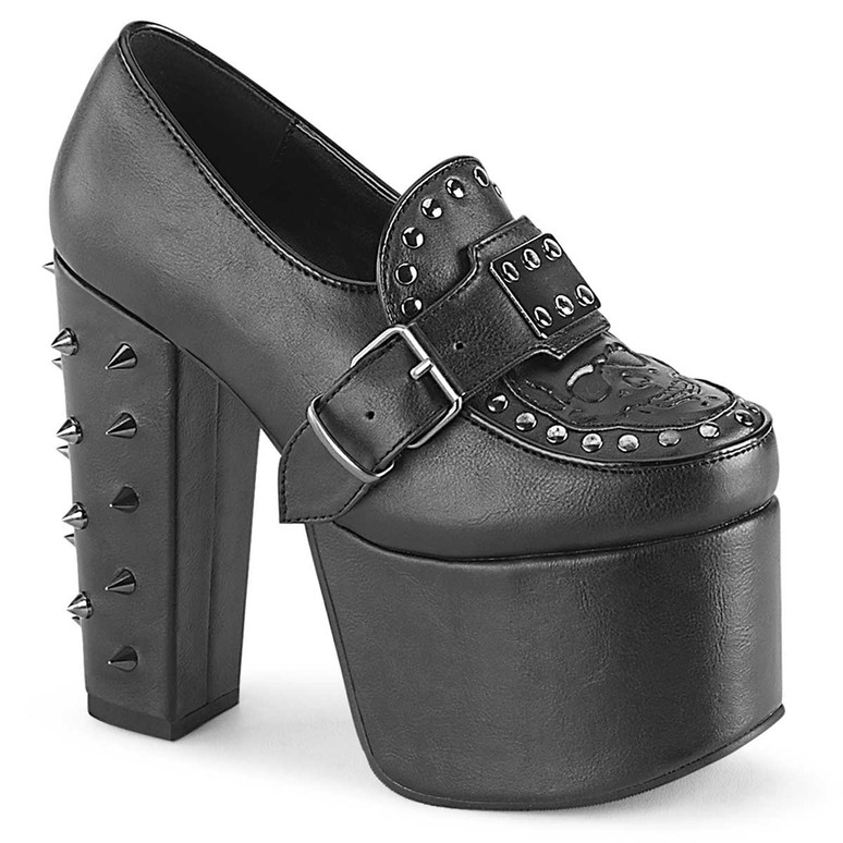 Torment-500, Goth Platform Loafer Buckles Strap and Spikes by Demonia