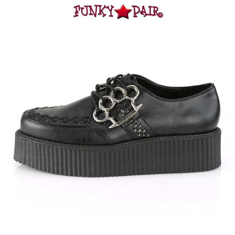 Demonia | Men's V-Creeper-516, Platform Oxford with Brass Knuckles Side View