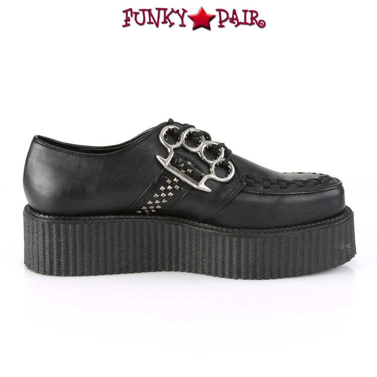 V-Creeper-516, Men's Creeper with Brass Knuckles by Demonia Inner Side View