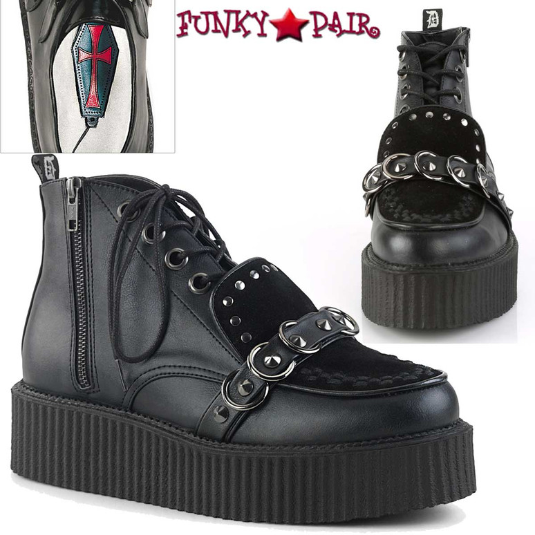 Demonia   Men's High-Top V-Creeper-555 Stud and O-Rings Detail Outer Zipper
