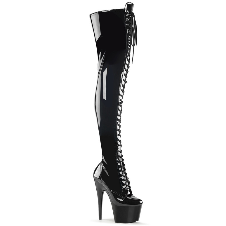 Pleaser | Adore-3023, Lace up Front Thigh High Boots