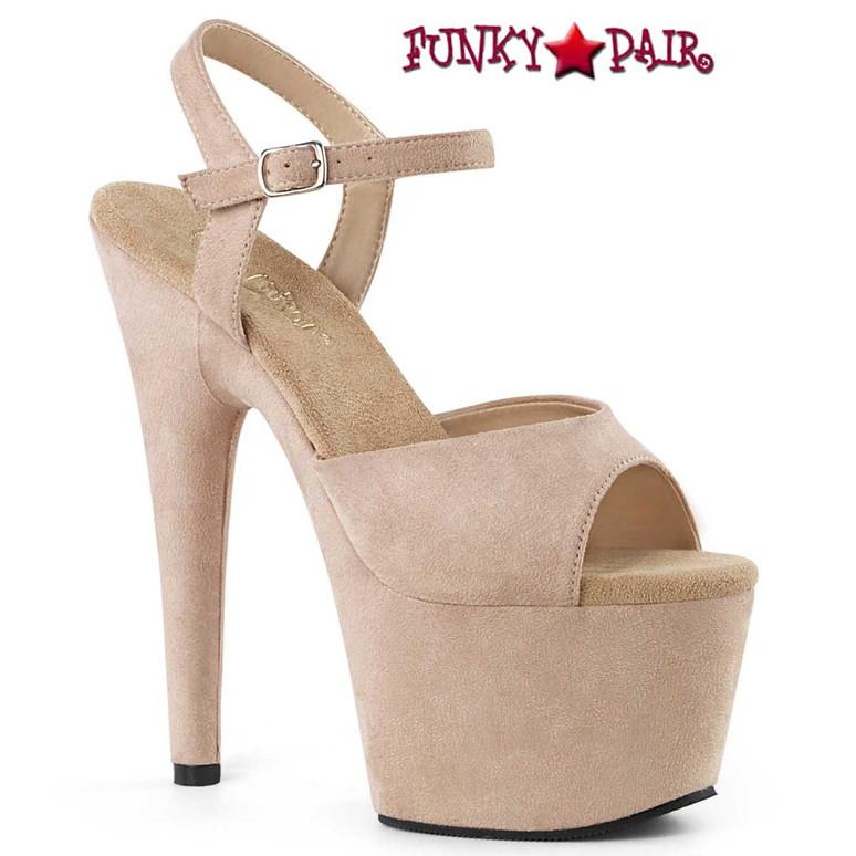 Pleaser Adore-709FS, Beige Suede Pole Dancer Shoes