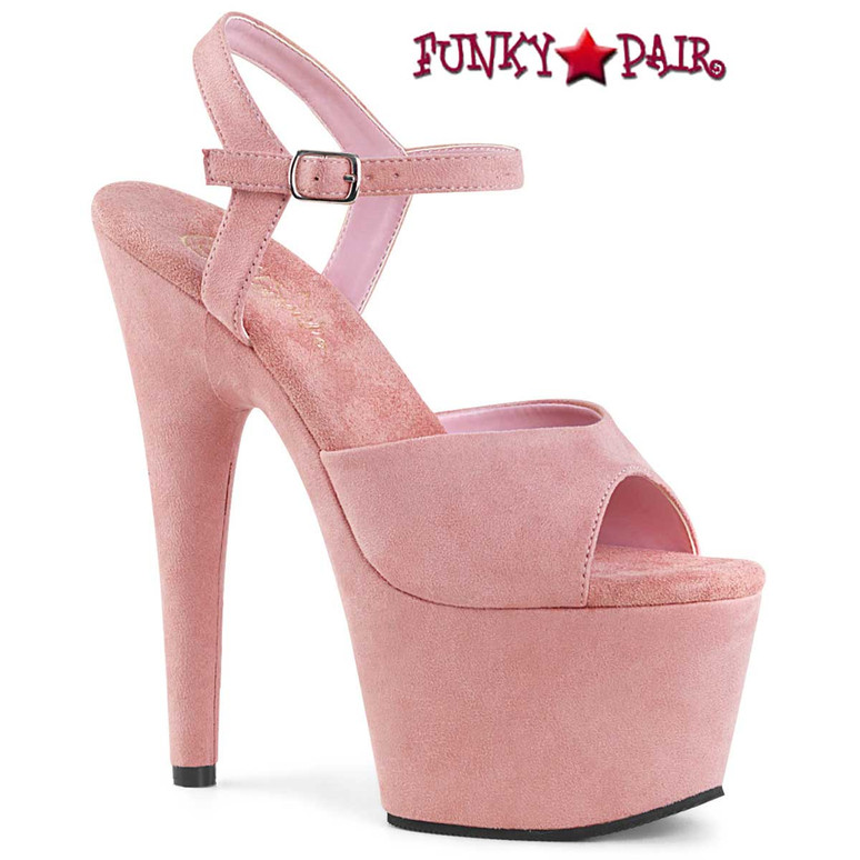Adore-709FS, Baby Pink Suede Pole Dancer Shoes by Pleaser