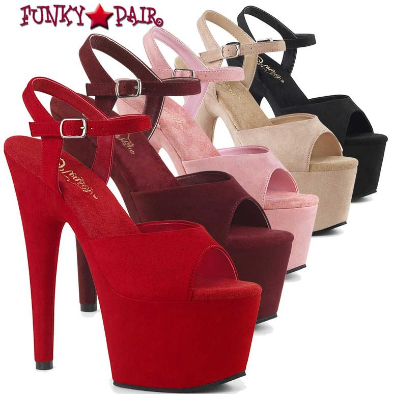 Pleaser | Adore-709FS, Suede Pole Dancer Shoes