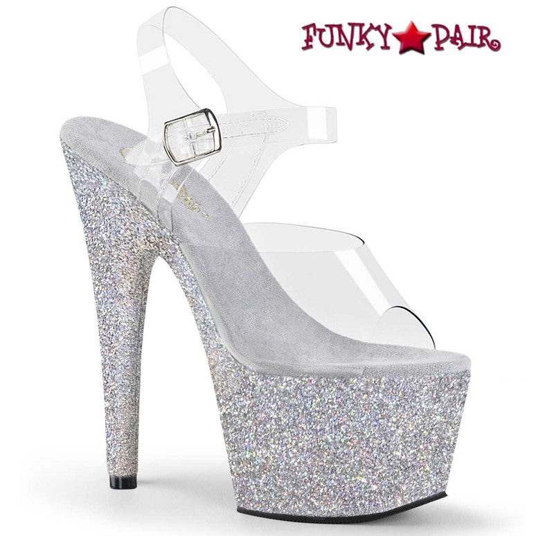 Adore-708HMG by Pleaser Shoes Silver Glitter Dancer Platform