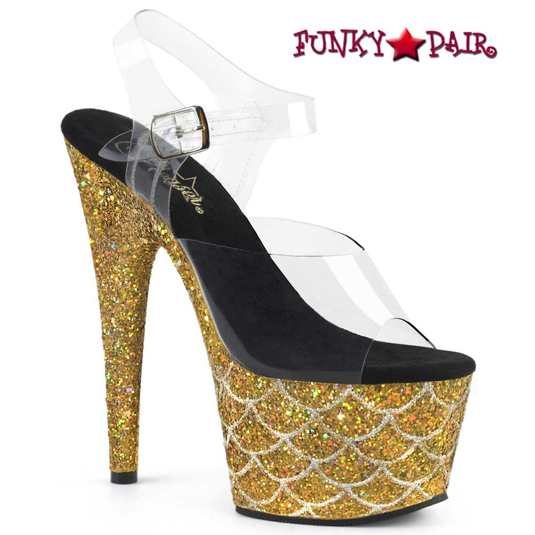 "Adore-708MSLG, 7"" Heel Gold Glitter Mermaid Scale on Platform by Pleaser"