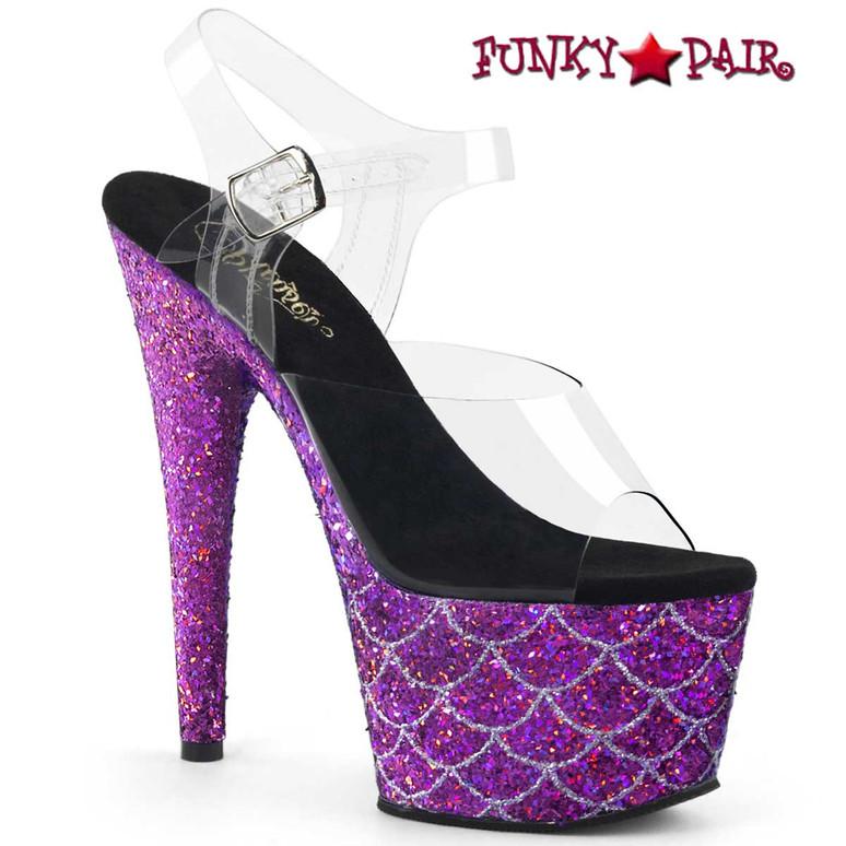 "Adore-708MSLG, 7"" Heel Purple Glitter Mermaid Scale on Platform by Pleaser"