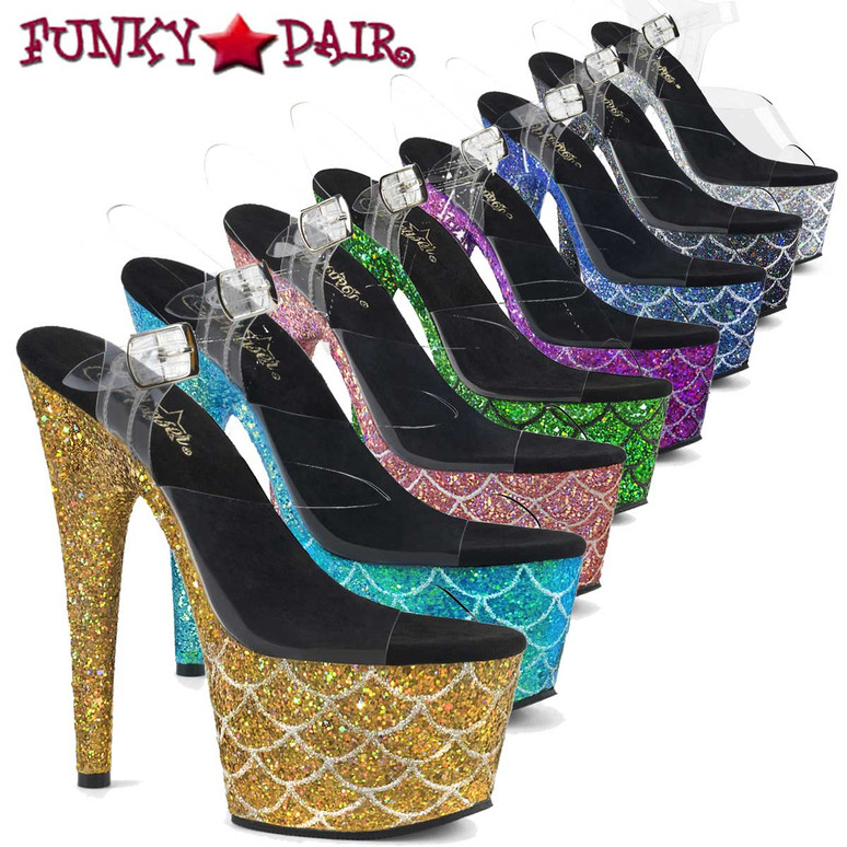 "Pleaser | Adore-708MSLG, 7"" Heel Holographic Glitter Mermaid Scale on Platform"