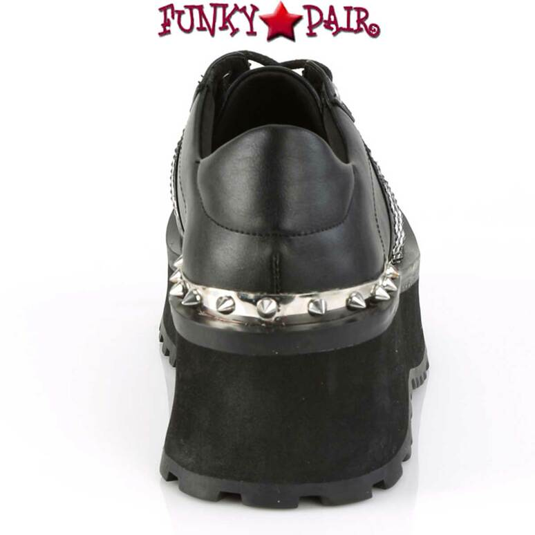 Back View Gravedigger-02, Punk Goth Oxford Shoes Men's Demonia