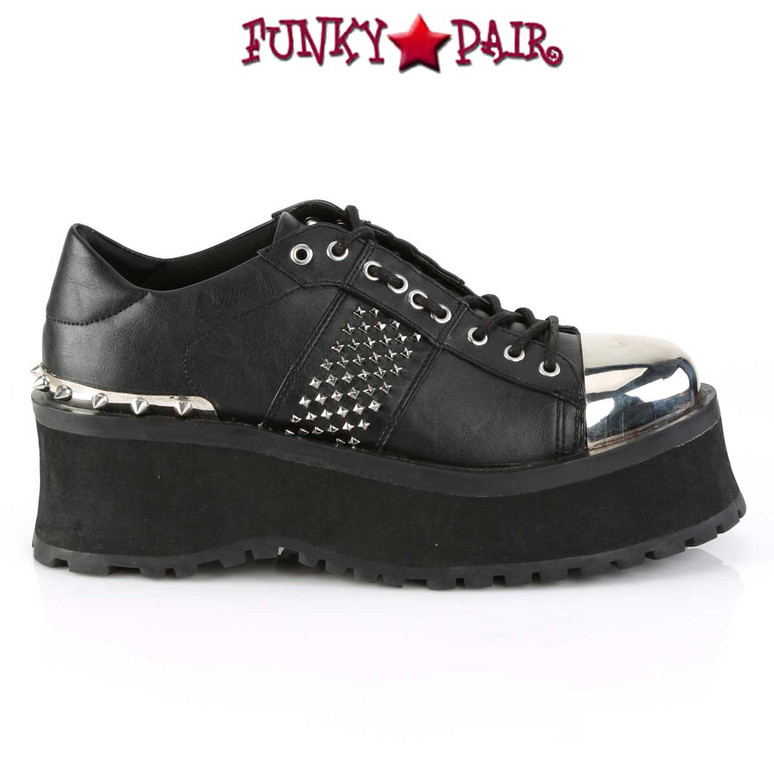 Side View Gravedigger-02, Punk Goth Oxford Shoes Men's Demonia
