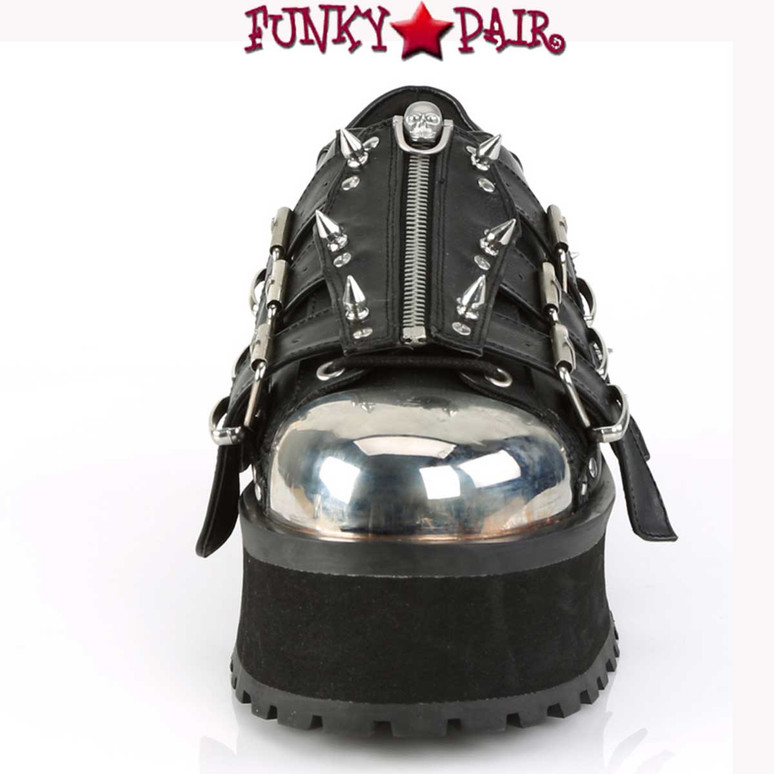 Demonia Men's Gravedigger-03, Platform Oxford with Spikes front view