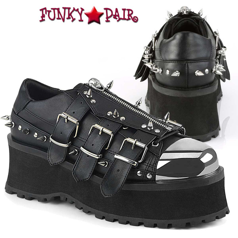 Demonia Men's Gravedigger-03, Platform Oxford with Spikes