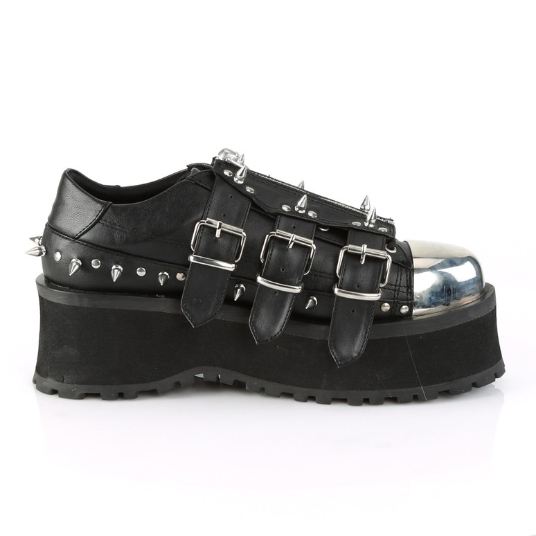 Demonia Men's Gravedigger-03, Platform Oxford with Spikes inner side view