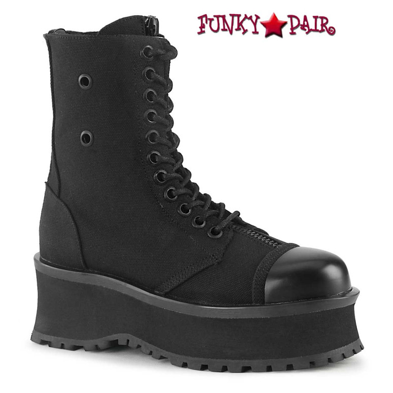 Gravedigger-10 Men's Black Canvas Platform Lace-up Ankle Boots by Demonia