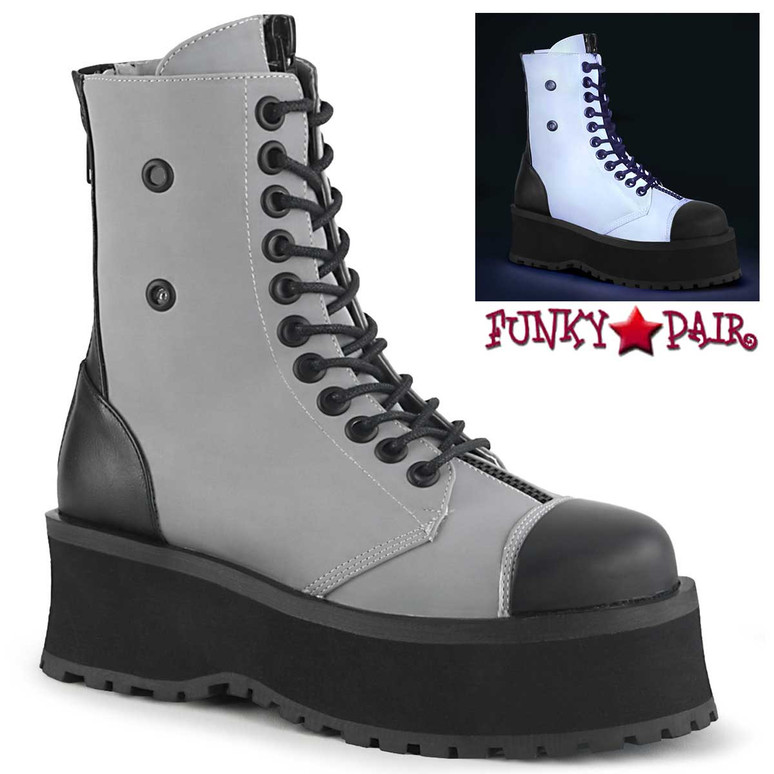 Gravedigger-10 Men's Grey Platform Lace-up Ankle Boots by Demonia