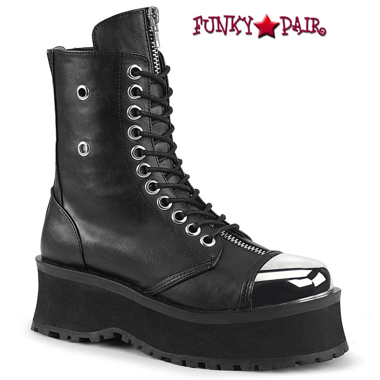 Gravedigger-10 Men's Black Vegan Platform Lace-up Ankle Boots by Demonia