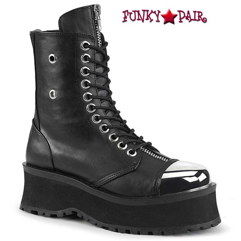 Gravedigger-10 Men's Black Vegan Platform Lace-up Ankle Boots by Demonia
