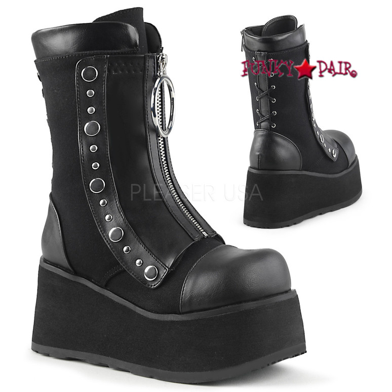 Clash-206, Wedge Mid Calf Boots Women's Demonia front view