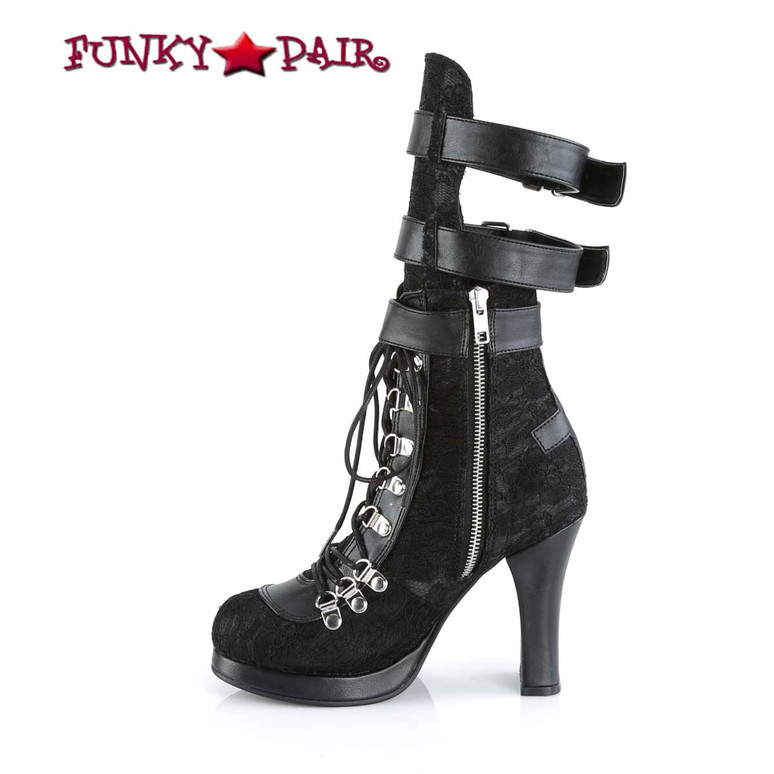 Women's Demonia Crypto-61, Open Calf Boots zipper side view