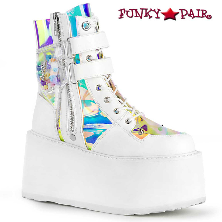 Damned-115, 3.5 Inch Lace up Ankle Boots Color White Vegan Leather-Clear Hologram PVC