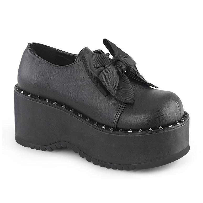 Dolly-05, 3.25 Inch Platform Oxford with Pyramid Stud Demonia Shoes