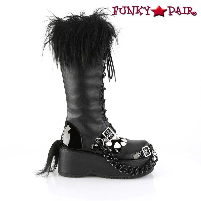 Women Demonia Dolly-130, Platform Monster Knee High Boots side view