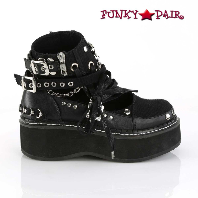 Women Demonia Emily-317, Buckle Strap Goth Punk Ankle Bootie side view