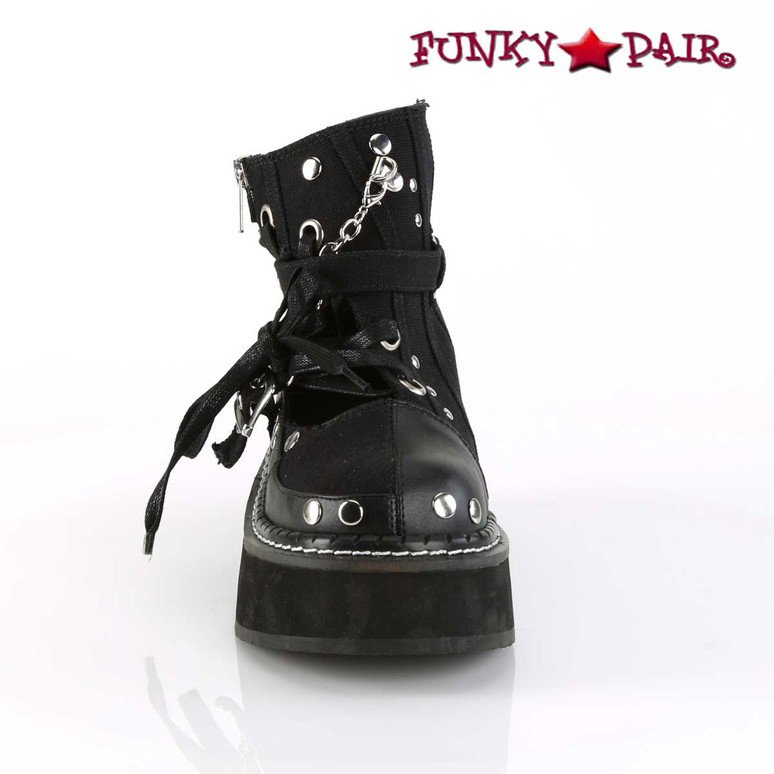 Buckle Strap Goth Punk Ankle Bootie Women Demonia Emily-317,  front view