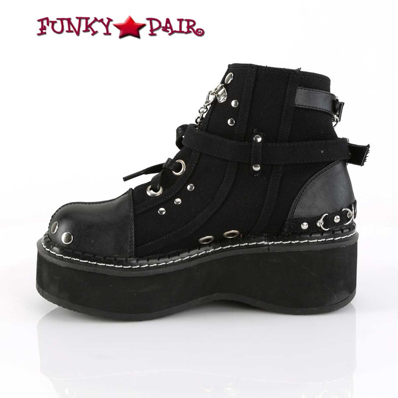 Women Demonia Emily-317, Buckle Strap Goth Punk Ankle Bootie inner side view