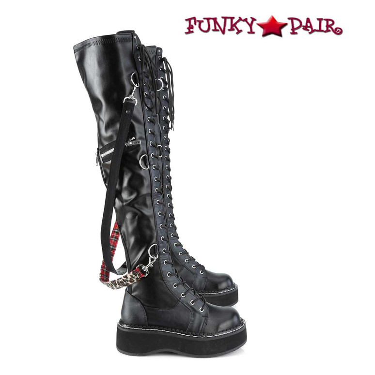 Emily-377, Goth  Over-the-Knee Boots by Demonia side view