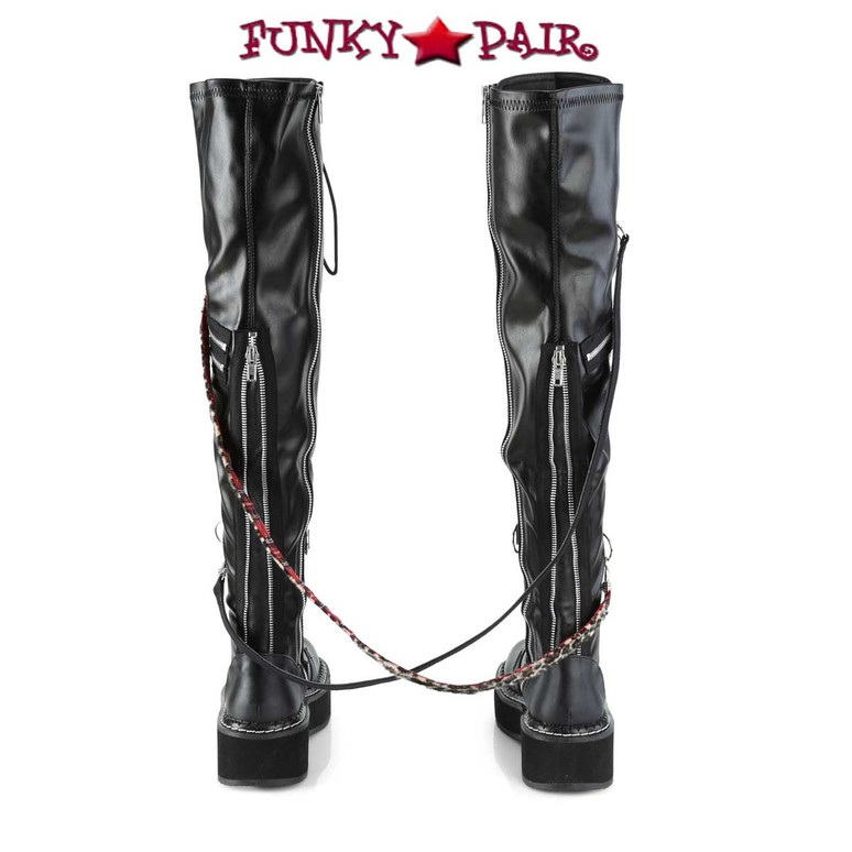 Emily-377, Platform Over-the-Knee Boots back view Demonia